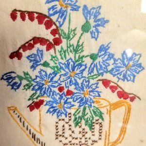 Vintage Floral Needlepoint Mixed Needlework
